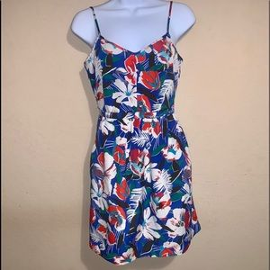 J. Crew Factory blue and red floral dress size 0